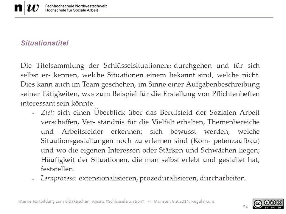 Interne Fortbildung zum didaktischen Ansatz «Schlüsselsituation», FH Münster, 8.9.2014, Regula Kunz 54 Situationstitel Die Titelsammlung der Schlüsselsituationen 10 durchgehen und für sich selbst er- kennen, welche Situationen einem bekannt sind, welche nicht.