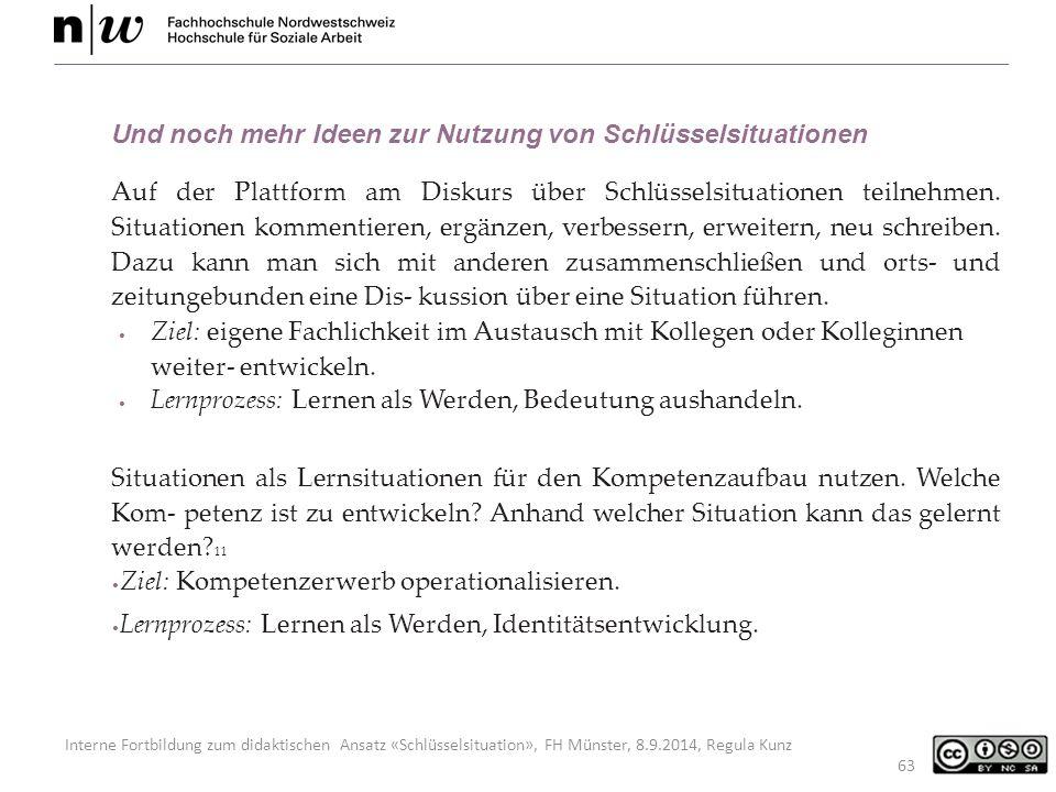 Interne Fortbildung zum didaktischen Ansatz «Schlüsselsituation», FH Münster, 8.9.2014, Regula Kunz 63 Und noch mehr Ideen zur Nutzung von Schlüsselsituationen Auf der Plattform am Diskurs über Schlüsselsituationen teilnehmen.
