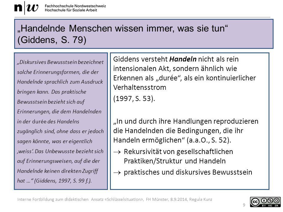 """Interne Fortbildung zum didaktischen Ansatz «Schlüsselsituation», FH Münster, 8.9.2014, Regula Kunz Giddens versteht Handeln nicht als rein intensionalen Akt, sondern ähnlich wie Erkennen als """"durée , als ein kontinuierlicher Verhaltensstrom (1997, S."""