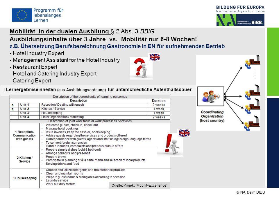 © NA beim BIBB Mobilität in der dualen Ausbilung § 2 Abs. 3 BBiG Ausbildungsinhalte über 3 Jahre vs. Mobilität nur 6-8 Wochen! z.B. Übersetzung Berufs