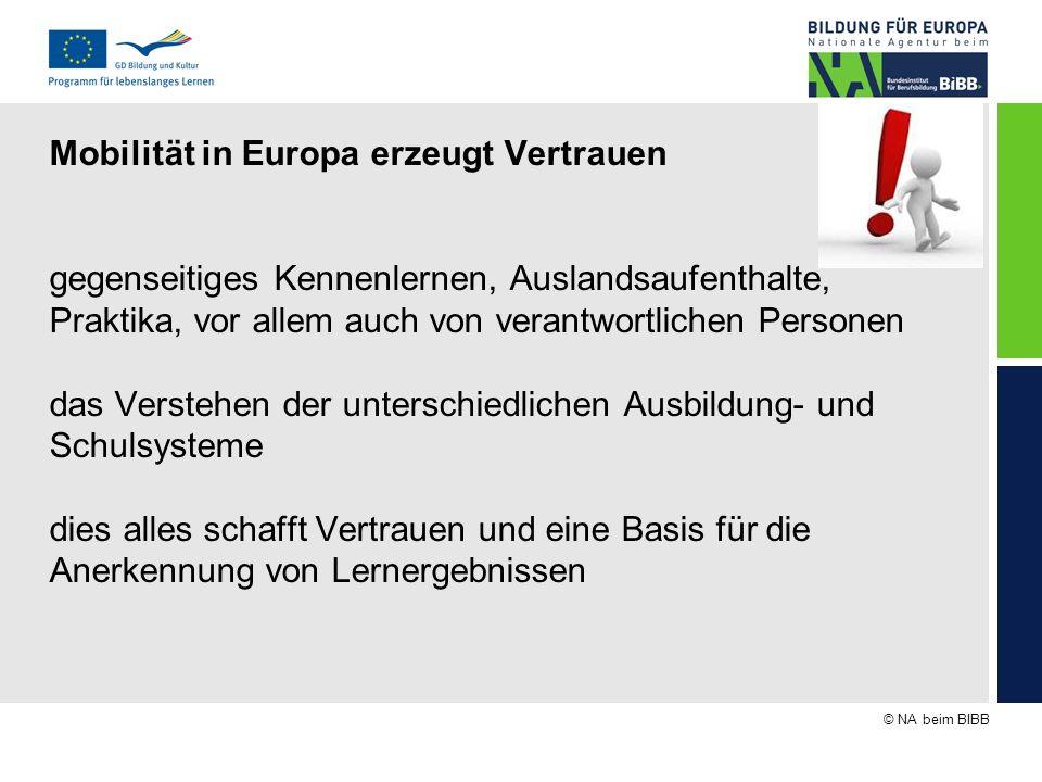 © NA beim BIBB Mobilität in Europa erzeugt Vertrauen gegenseitiges Kennenlernen, Auslandsaufenthalte, Praktika, vor allem auch von verantwortlichen Pe