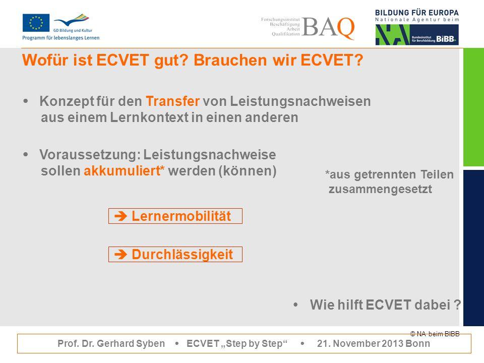"""© NA beim BIBB Wofür ist ECVET gut? Brauchen wir ECVET? Prof. Dr. Gerhard Syben  ECVET """"Step by Step""""  21. November 2013 Bonn  Konzept für den Tran"""