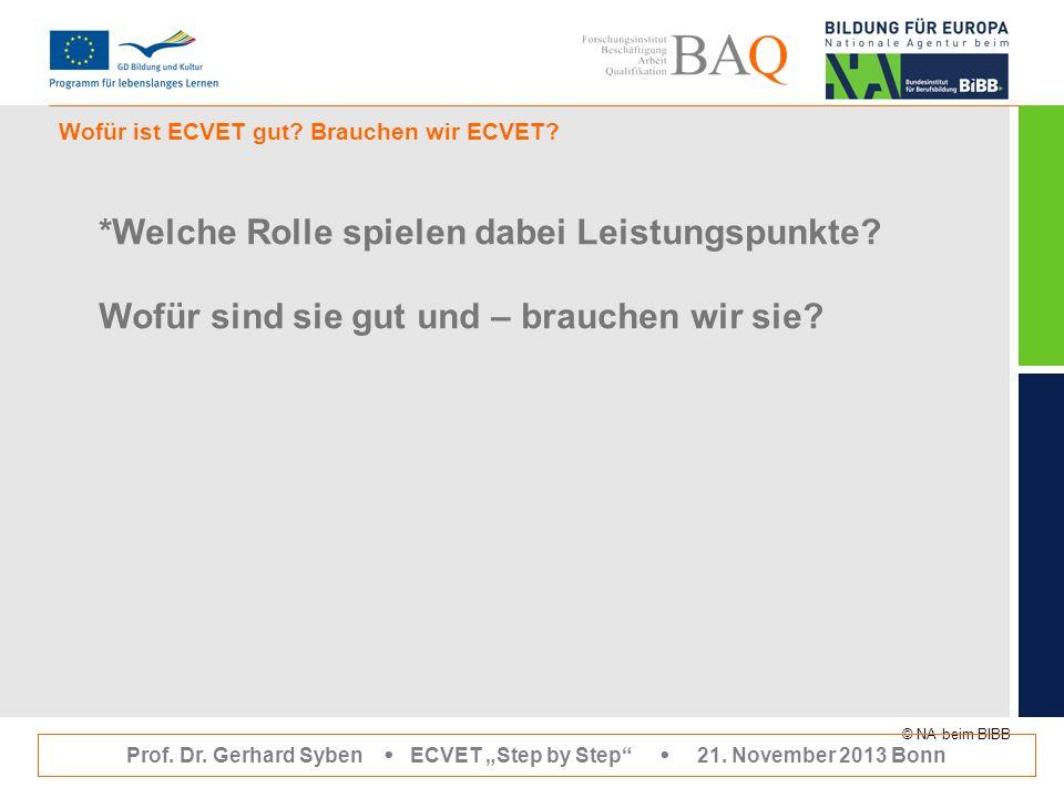 """© NA beim BIBB Wofür ist ECVET gut? Brauchen wir ECVET? Prof. Dr. Gerhard Syben  ECVET """"Step by Step""""  21. November 2013 Bonn *Welche Rolle spielen"""
