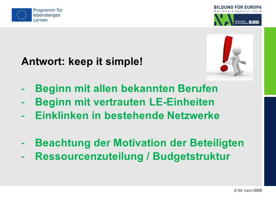 © NA beim BIBB Antwort: keep it simple! -Beginn mit allen bekannten Berufen -Beginn mit vertrauten LE-Einheiten -Einklinken in bestehende Netzwerke -B