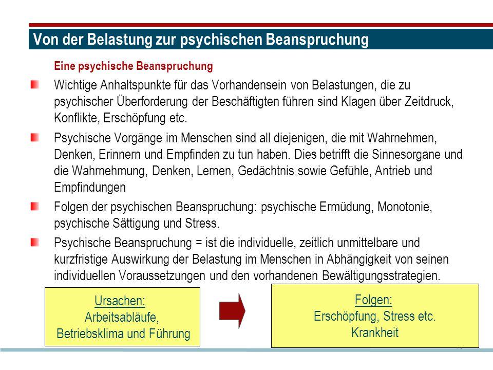 16 Von der Belastung zur psychischen Beanspruchung Eine psychische Beanspruchung Wichtige Anhaltspunkte für das Vorhandensein von Belastungen, die zu