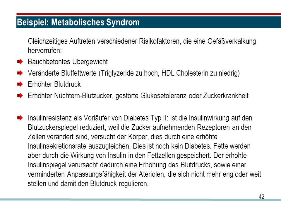 Beispiel: Metabolisches Syndrom Gleichzeitiges Auftreten verschiedener Risikofaktoren, die eine Gefäßverkalkung hervorrufen: Bauchbetontes Übergewicht