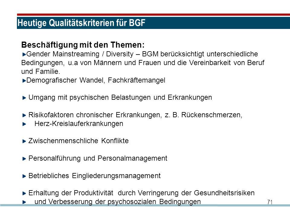 Heutige Qualitätskriterien für BGF 71 Beschäftigung mit den Themen: Gender Mainstreaming / Diversity – BGM berücksichtigt unterschiedliche Bedingungen
