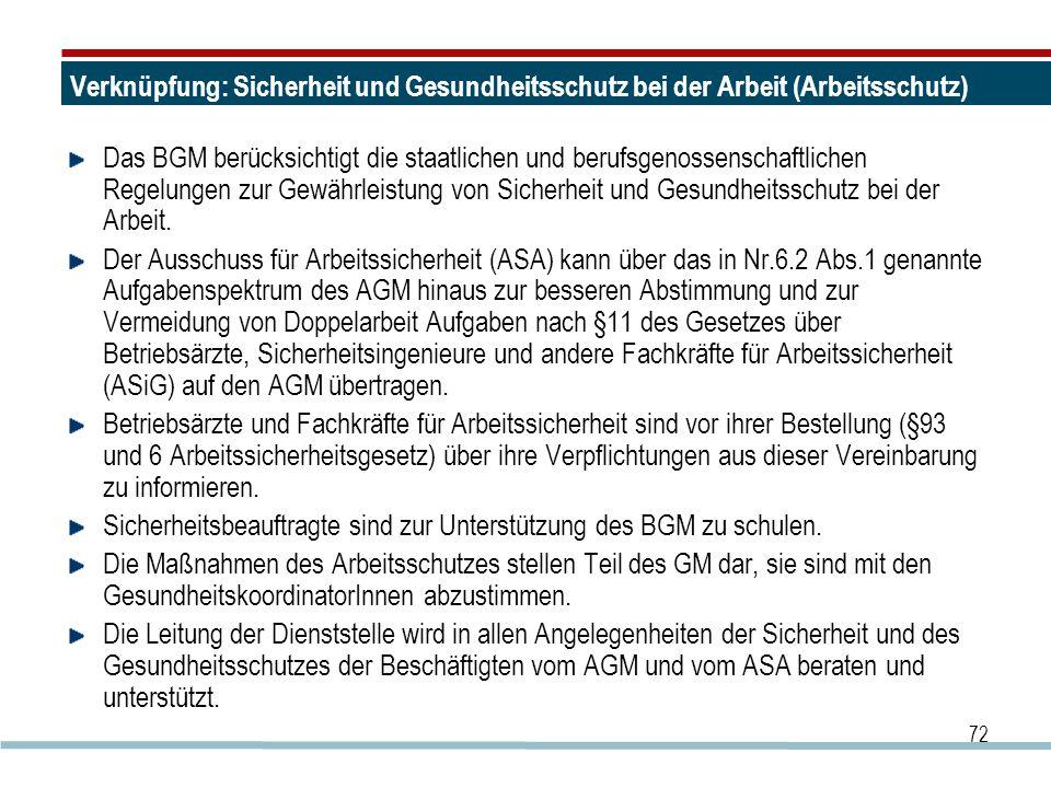 72 Verknüpfung: Sicherheit und Gesundheitsschutz bei der Arbeit (Arbeitsschutz) Das BGM berücksichtigt die staatlichen und berufsgenossenschaftlichen