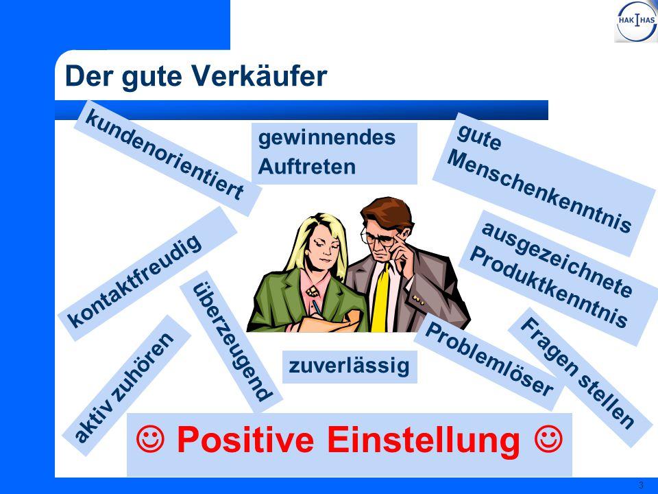 3 Der gute Verkäufer Positive Einstellung kundenorientiert ausgezeichnete Produktkenntnis zuverlässig gute Menschenkenntnis überzeugend kontaktfreudig