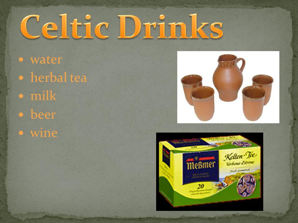 water herbal tea milk beer wine