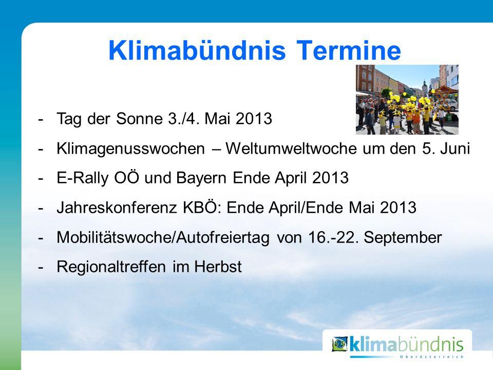 -Tag der Sonne 3./4. Mai 2013 -Klimagenusswochen – Weltumweltwoche um den 5.