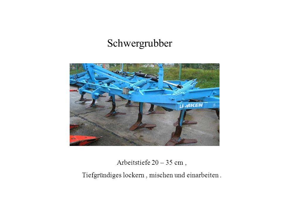 Arbeitstiefe 20 – 35 cm, Tiefgründiges lockern, mischen und einarbeiten. Schwergrubber