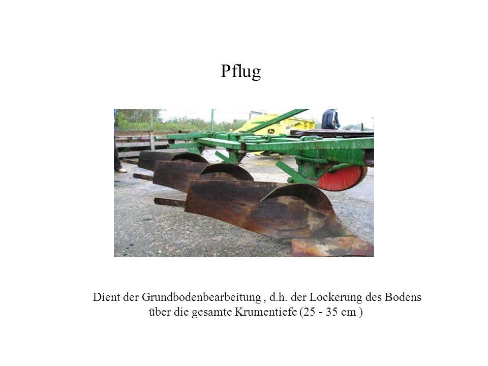 Dient der Grundbodenbearbeitung, d.h. der Lockerung des Bodens über die gesamte Krumentiefe (25 - 35 cm ) Pflug