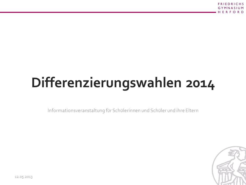 Differenzierungswahlen 2014 Informationsveranstaltung für Schülerinnen und Schüler und ihre Eltern 12.05.2013