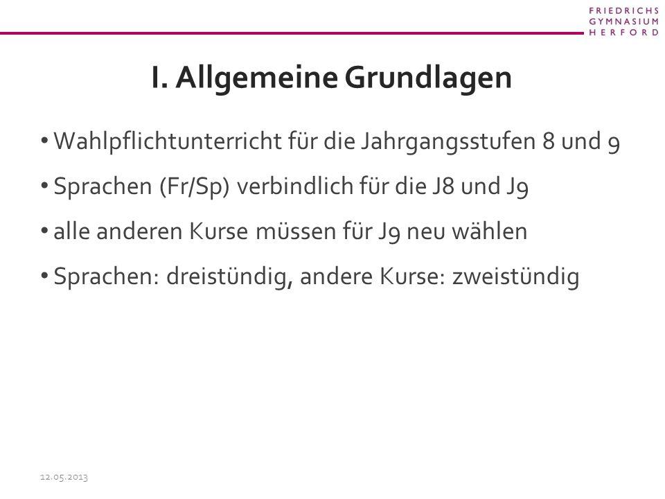 I. Allgemeine Grundlagen Wahlpflichtunterricht für die Jahrgangsstufen 8 und 9 Sprachen (Fr/Sp) verbindlich für die J8 und J9 alle anderen Kurse müsse