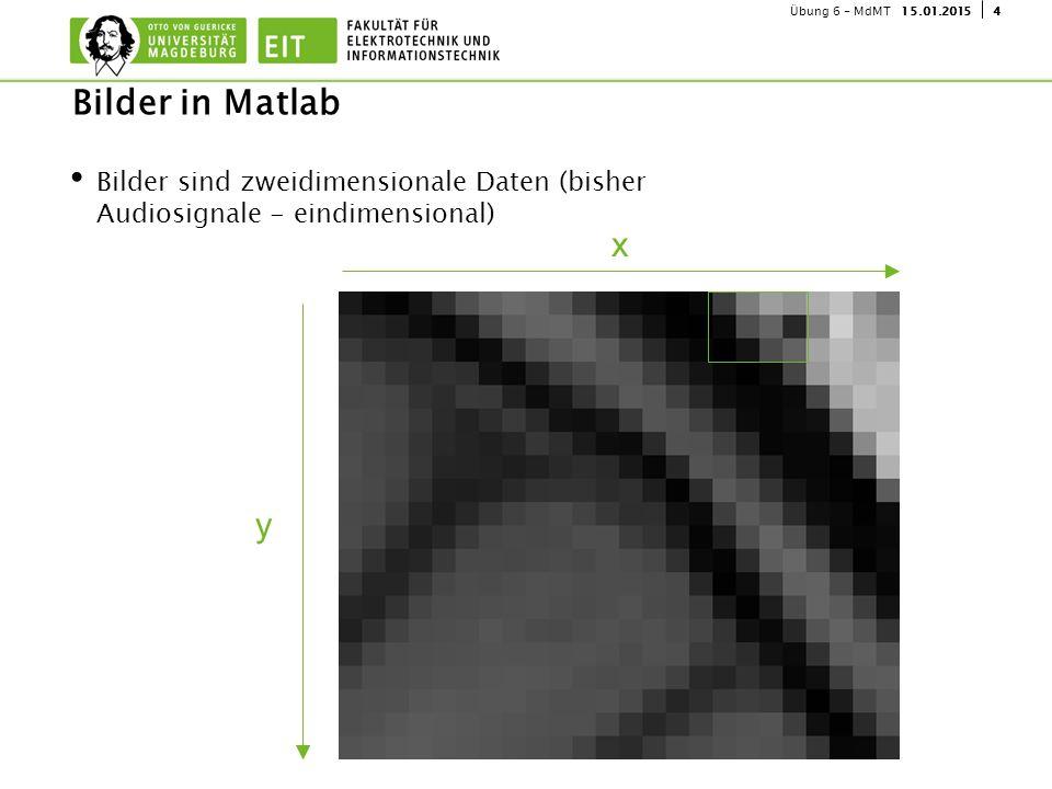 415.01.2015Übung 6 - MdMT Bilder sind zweidimensionale Daten (bisher Audiosignale - eindimensional) Bilder in Matlab x y