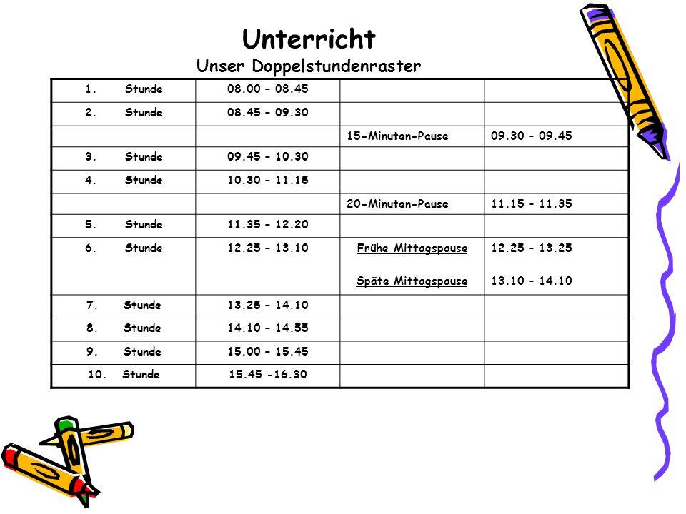 Unterricht Unser Doppelstundenraster 1.Stunde08.00 – 08.45 2.Stunde08.45 – 09.30 15-Minuten-Pause09.30 – 09.45 3.Stunde09.45 – 10.30 4.Stunde10.30 – 1