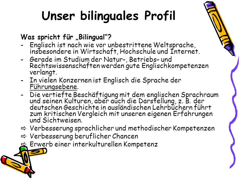 """Unser bilinguales Profil Was spricht für """"Bilingual""""? -Englisch ist nach wie vor unbestrittene Weltsprache, insbesondere in Wirtschaft, Hochschule und"""