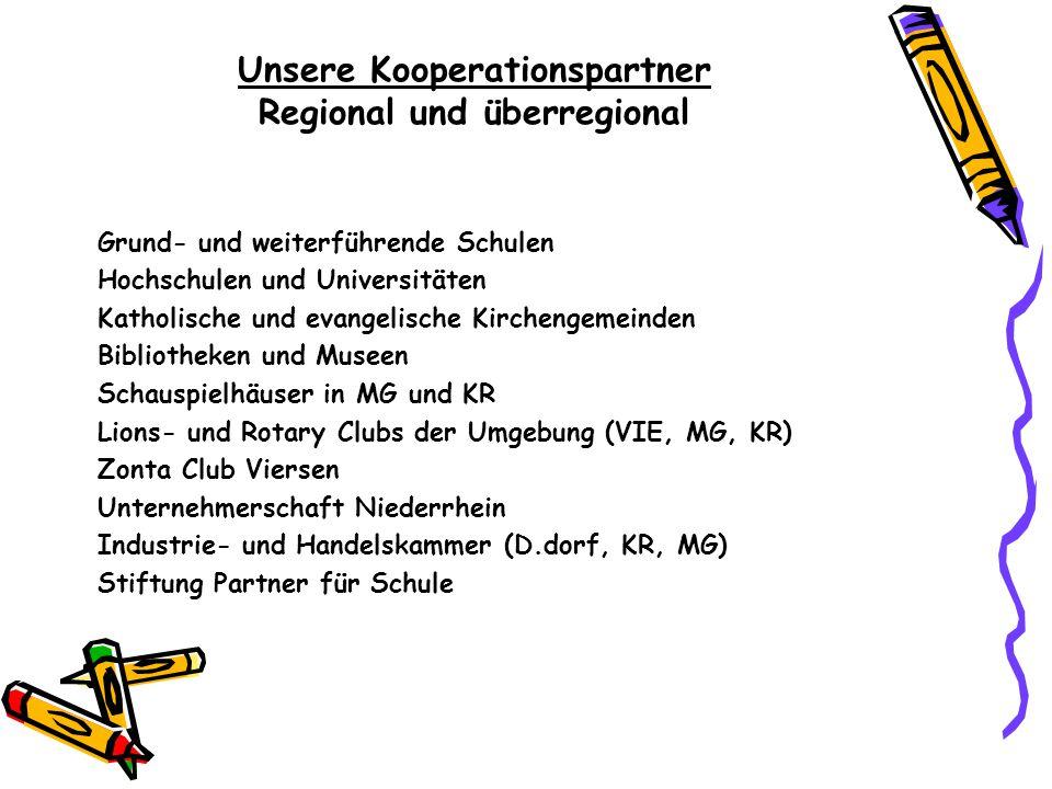 Unsere Kooperationspartner Regional und überregional Grund- und weiterführende Schulen Hochschulen und Universitäten Katholische und evangelische Kirc