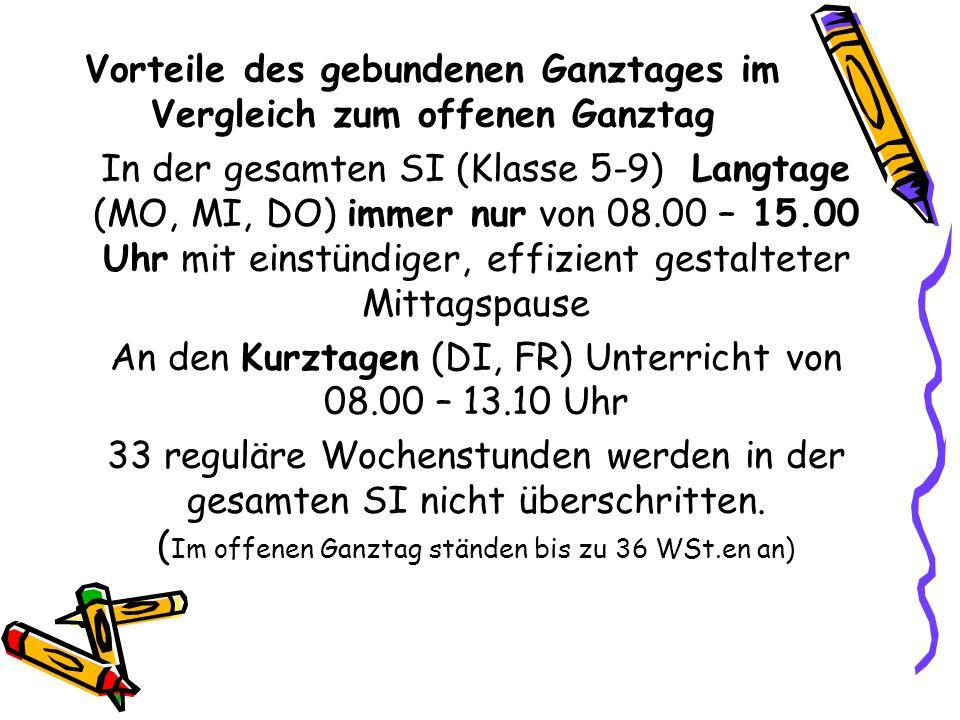 Vorteile des gebundenen Ganztages im Vergleich zum offenen Ganztag In der gesamten SI (Klasse 5-9) Langtage (MO, MI, DO) immer nur von 08.00 – 15.00 U