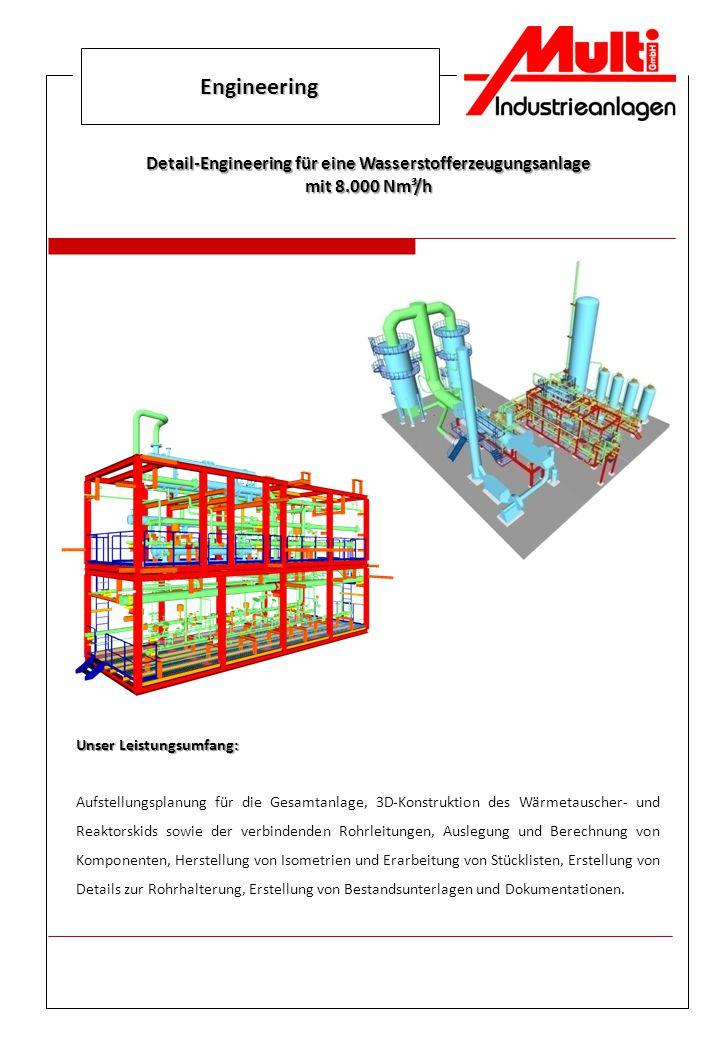 Engineering Unser Leistungsumfang: Aufstellungsplanung für die Gesamtanlage, 3D-Konstruktion des Wärmetauscher- und Reaktorskids sowie der verbindende