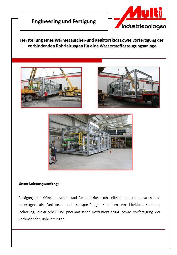 Engineering und Fertigung Herstellung eines Wärmetauscher-und Reaktorskids sowie Vorfertigung der verbindenden Rohrleitungen für eine Wasserstofferzeu