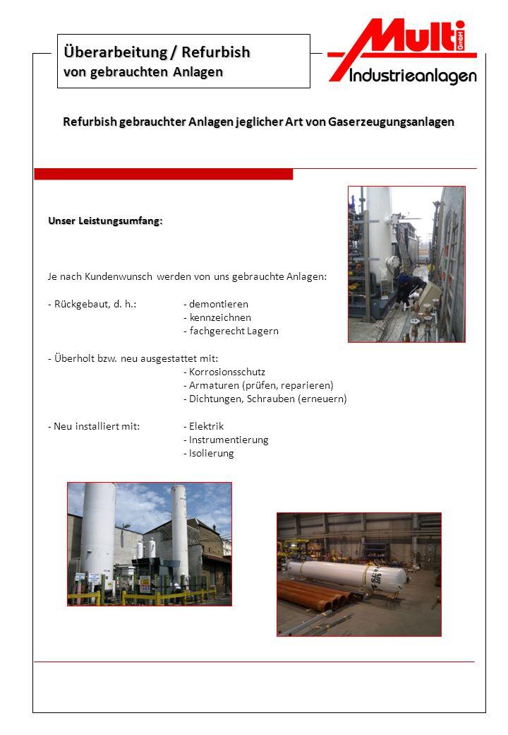 Überarbeitung / Refurbish von gebrauchten Anlagen Refurbish gebrauchter Anlagen jeglicher Art von Gaserzeugungsanlagen Unser Leistungsumfang: Je nach