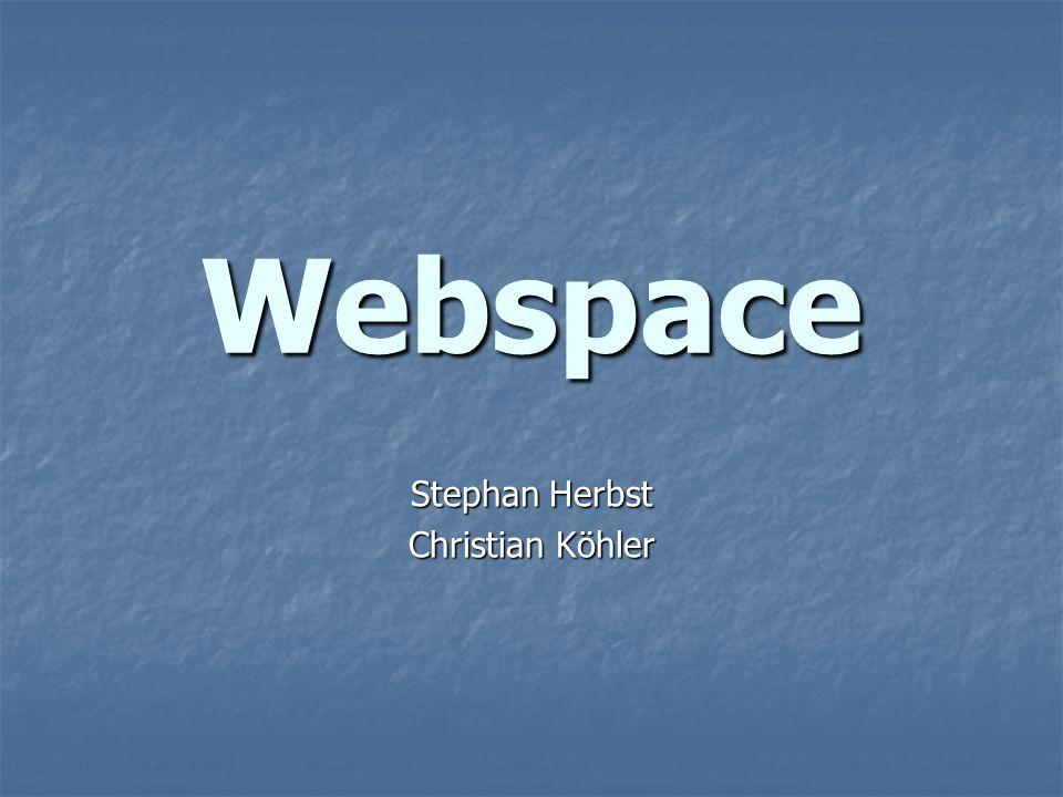Themen des Vortrages Kurze Einführung ins Thema Kurze Einführung ins Thema Webspace - Was.