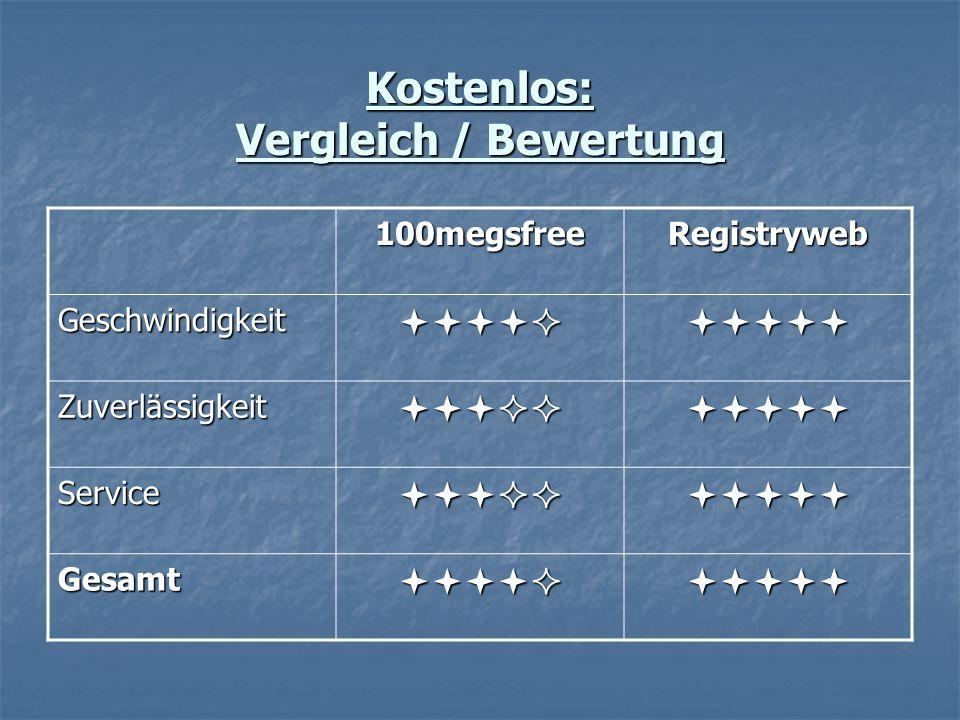Kostenlos: Vergleich / Bewertung 100megsfreeRegistryweb Geschwindigkeit Zuverlässigkeit Service Gesamt