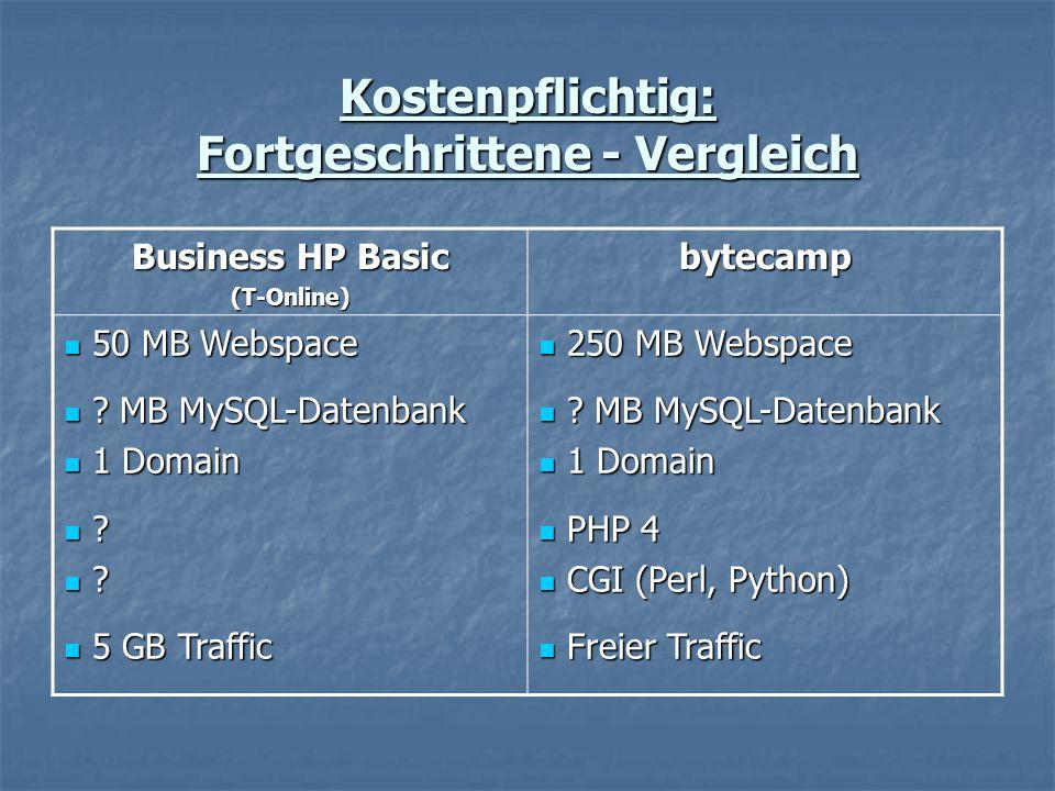 Kostenpflichtig: Fortgeschrittene - Vergleich Business HP Basic (T-Online)bytecamp 50 MB Webspace 50 MB Webspace .