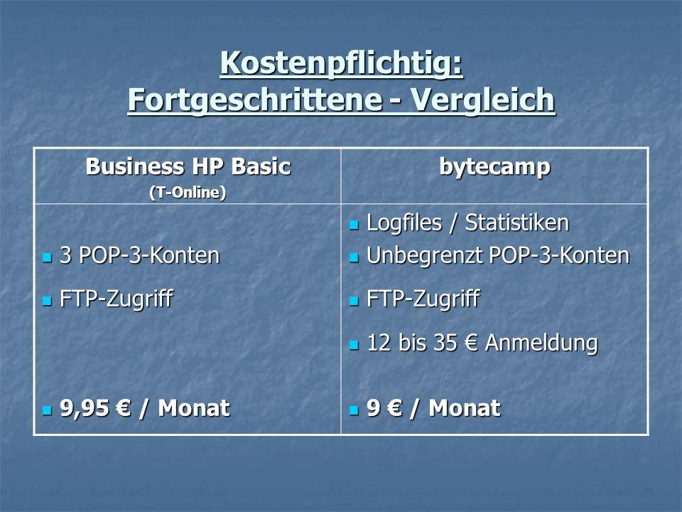 Kostenpflichtig: Fortgeschrittene - Vergleich Business HP Basic (T-Online)bytecamp 3 POP-3-Konten 3 POP-3-Konten FTP-Zugriff FTP-Zugriff 9,95 € / Monat 9,95 € / Monat Logfiles / Statistiken Logfiles / Statistiken Unbegrenzt POP-3-Konten Unbegrenzt POP-3-Konten FTP-Zugriff FTP-Zugriff 12 bis 35 € Anmeldung 12 bis 35 € Anmeldung 9 € / Monat 9 € / Monat