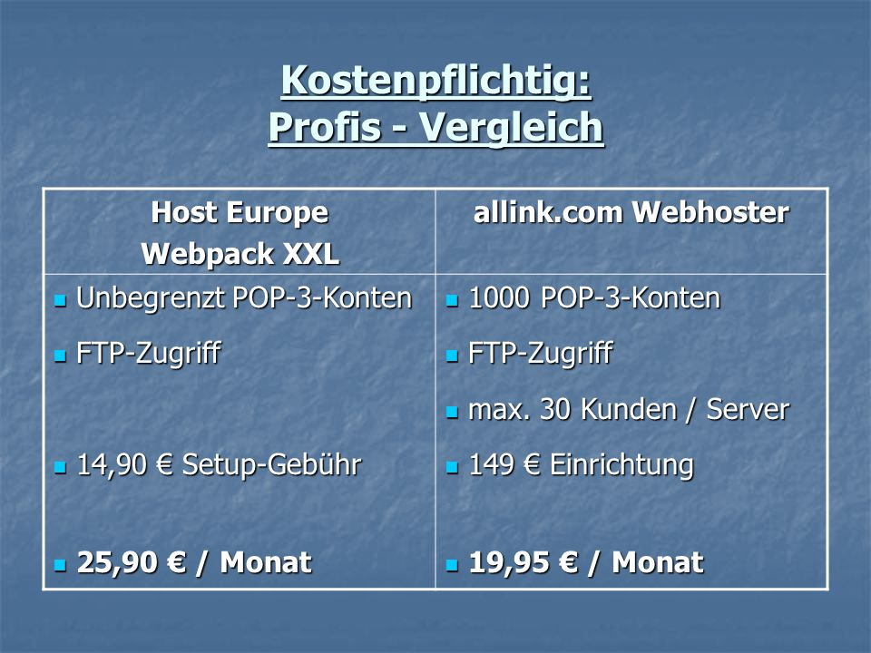 Kostenpflichtig: Profis - Vergleich Host Europe Webpack XXL allink.com Webhoster Unbegrenzt POP-3-Konten Unbegrenzt POP-3-Konten FTP-Zugriff FTP-Zugriff 14,90 € Setup-Gebühr 14,90 € Setup-Gebühr 25,90 € / Monat 25,90 € / Monat 1000 POP-3-Konten 1000 POP-3-Konten FTP-Zugriff FTP-Zugriff max.