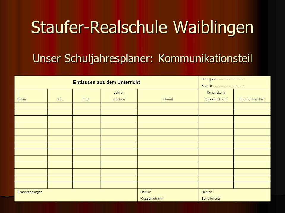 Staufer-Realschule Waiblingen Unser Schuljahresplaner: Kommunikationsteil Entlassen aus dem Unterricht Schuljahr:..............................