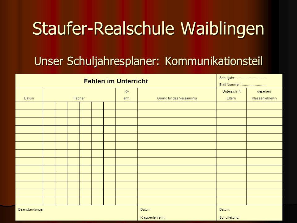 Staufer-Realschule Waiblingen Unser Schuljahresplaner: Kommunikationsteil Fehlen im Unterricht Schuljahr:..................................