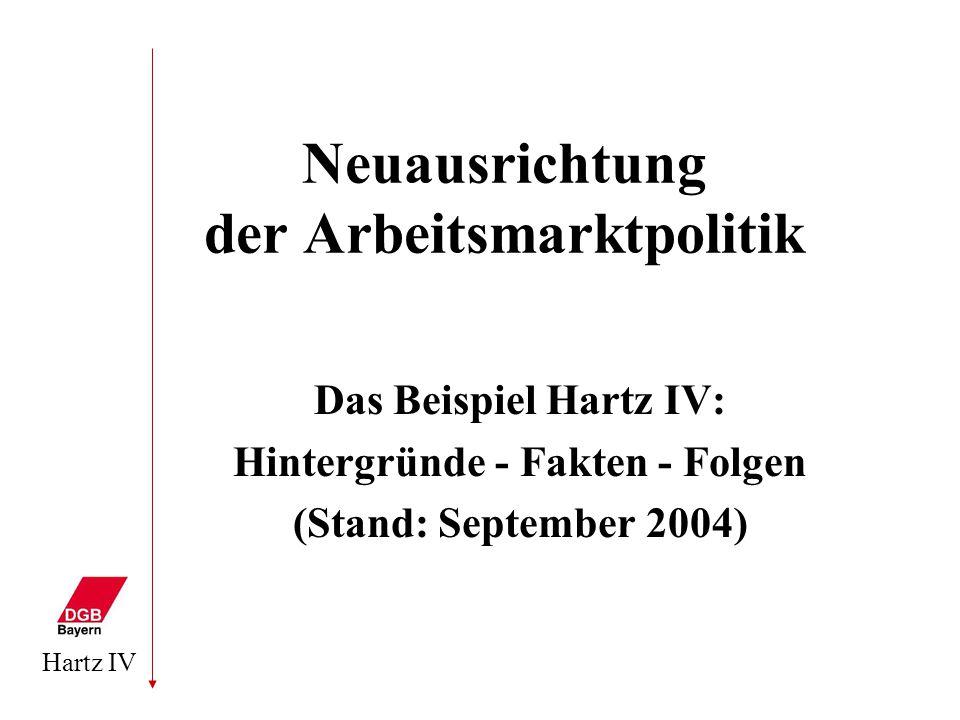 Hartz IV Neuausrichtung der Arbeitsmarktpolitik Das Beispiel Hartz IV: Hintergründe - Fakten - Folgen (Stand: September 2004)