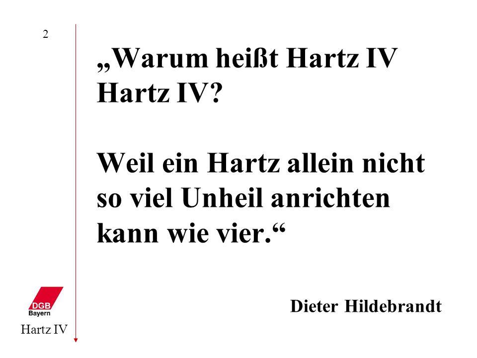 """Hartz IV 2 """"Warum heißt Hartz IV Hartz IV? Weil ein Hartz allein nicht so viel Unheil anrichten kann wie vier."""" Dieter Hildebrandt"""