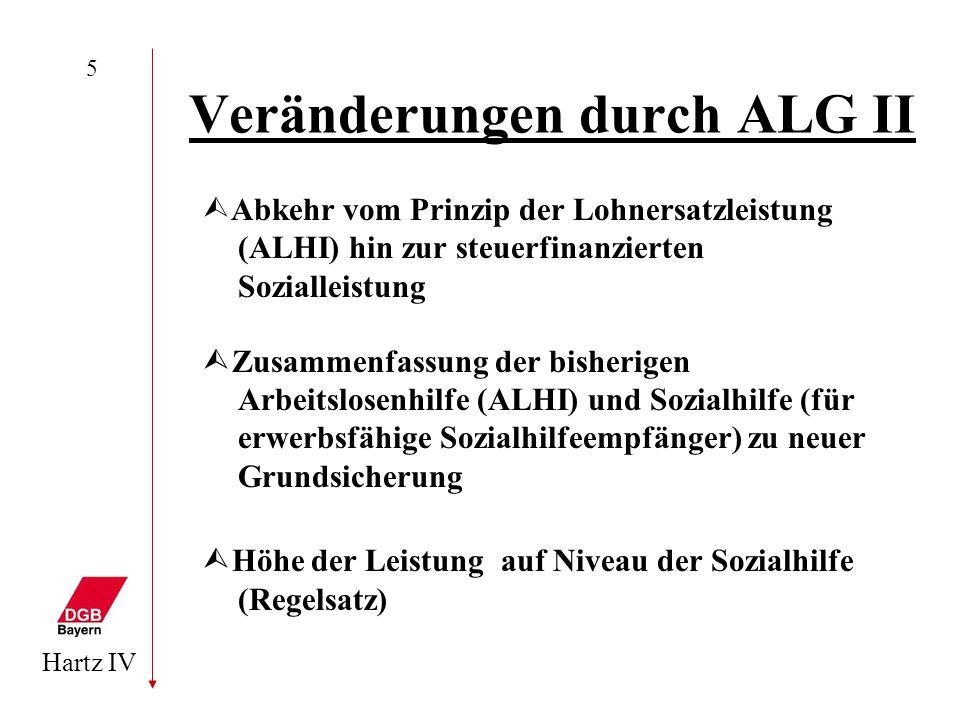 Hartz IV 5 Veränderungen durch ALG II  Abkehr vom Prinzip der Lohnersatzleistung (ALHI) hin zur steuerfinanzierten Sozialleistung  Zusammenfassung d