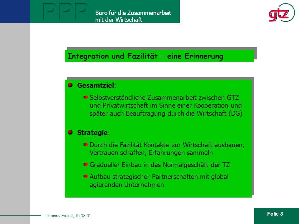 Folie 3 PPP Büro für die Zusammenarbeit mit der Wirtschaft Thomas Finkel, 15.08.01 Integration und Fazilität – eine Erinnerung Gesamtziel: Selbstverst