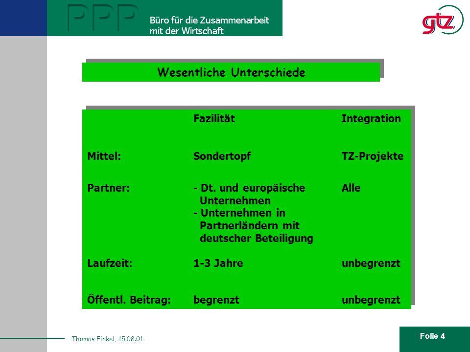 Folie 4 PPP Büro für die Zusammenarbeit mit der Wirtschaft Thomas Finkel, 15.08.01 Wesentliche Unterschiede Fazilität Integration Mittel:SondertopfTZ-Projekte Partner: - Dt.