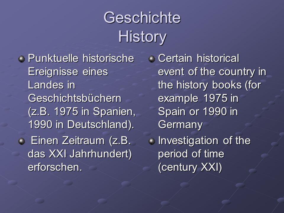 Geschichte History Punktuelle historische Ereignisse eines Landes in Geschichtsbüchern (z.B. 1975 in Spanien, 1990 in Deutschland). Einen Zeitraum (z.