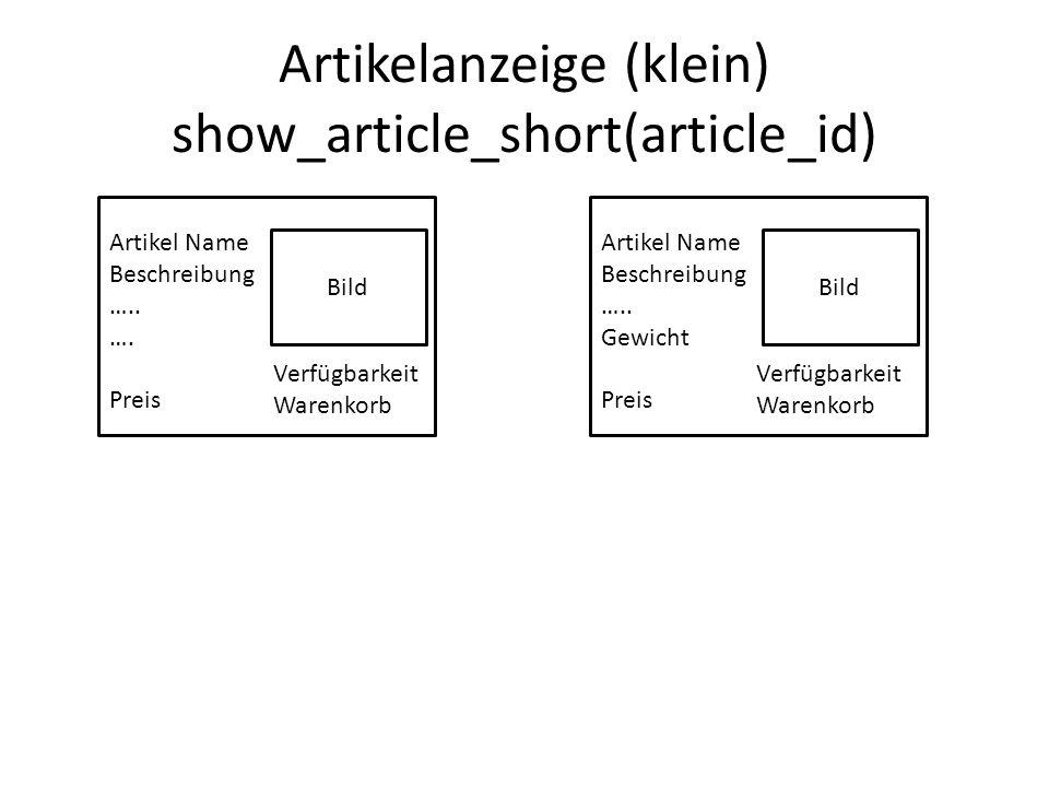 Artikelanzeige (klein) show_article_short(article_id) Bild Artikel Name Beschreibung …..