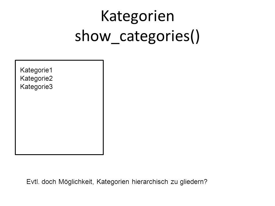 Kategorien show_categories() Kategorie1 Kategorie2 Kategorie3 Evtl.