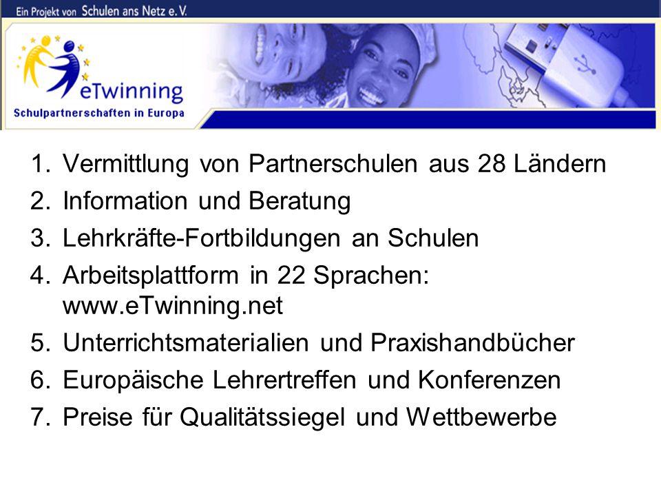 Was bietet Ihnen das eTwinning-Team? 1.Vermittlung von Partnerschulen aus 28 Ländern 2.Information und Beratung 3.Lehrkräfte-Fortbildungen an Schulen