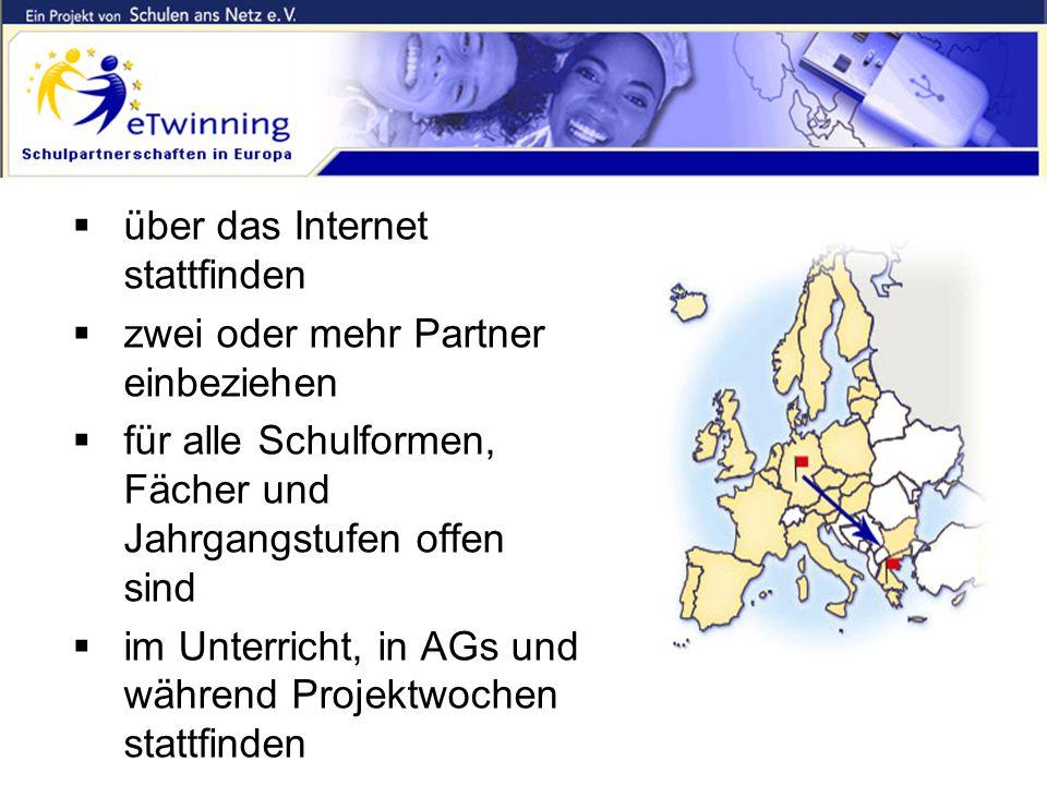 eTwinning = Schulpartnerschaften, die...  über das Internet stattfinden  zwei oder mehr Partner einbeziehen  für alle Schulformen, Fächer und Jahrg