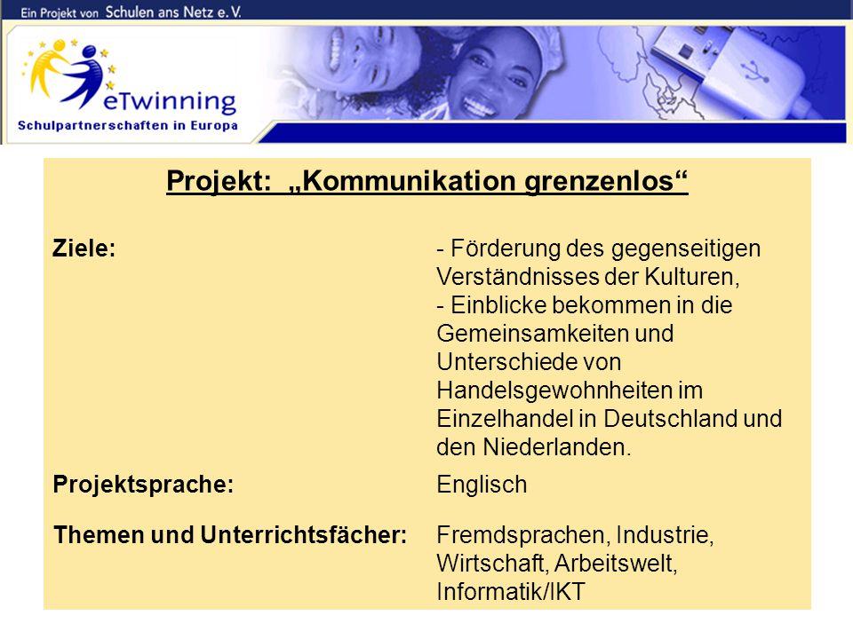 """Die """"alte Partnerschaft Projekt: """"Kommunikation grenzenlos Ziele:- Förderung des gegenseitigen Verständnisses der Kulturen, - Einblicke bekommen in die Gemeinsamkeiten und Unterschiede von Handelsgewohnheiten im Einzelhandel in Deutschland und den Niederlanden."""