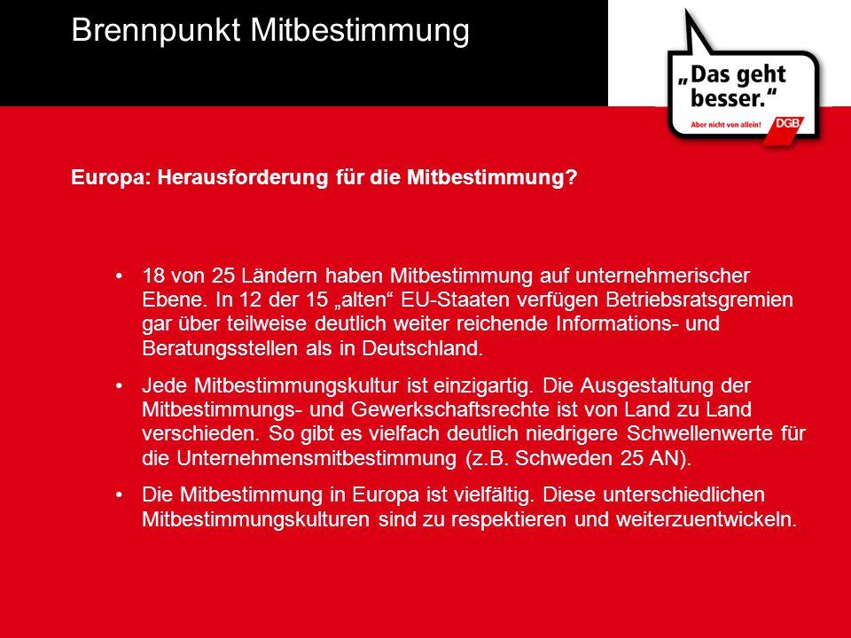 Brennpunkt Mitbestimmung Europa: Herausforderung für die Mitbestimmung.