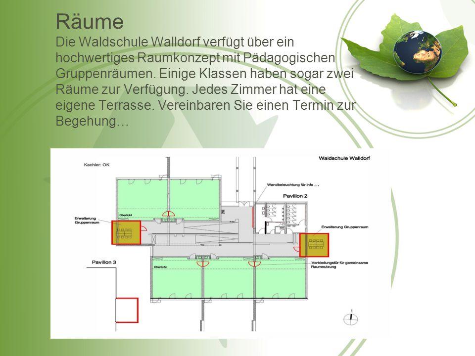 Räume Die Waldschule Walldorf verfügt über ein hochwertiges Raumkonzept mit Pädagogischen Gruppenräumen. Einige Klassen haben sogar zwei Räume zur Ver