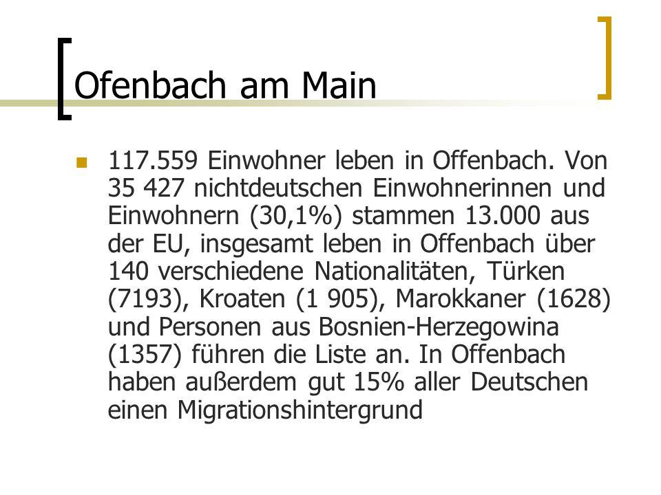Ofenbach am Main 117.559 Einwohner leben in Offenbach.