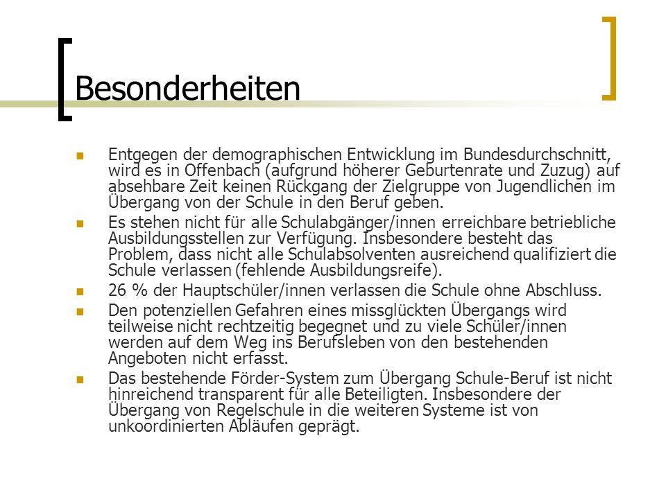 Besonderheiten Entgegen der demographischen Entwicklung im Bundesdurchschnitt, wird es in Offenbach (aufgrund höherer Geburtenrate und Zuzug) auf absehbare Zeit keinen Rückgang der Zielgruppe von Jugendlichen im Übergang von der Schule in den Beruf geben.