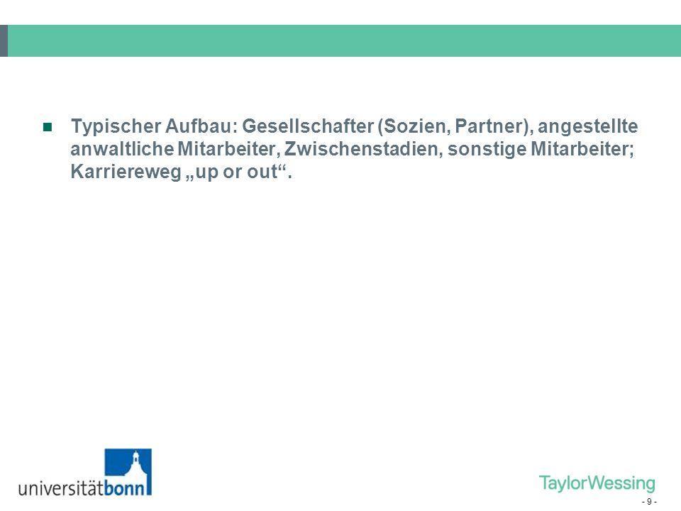 - 8 - 3. Sonderform – Die Großkanzlei Equity Partner Fixed share Partner Associate Assistenz Support: IT Bibliothek EmpfangBürohilfe